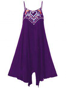 فستان الحجم الكبير مطرز صيف مثير - أرجواني 3xl