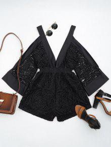 Plunging Neck Cold Shoulder Hollow Out Romper - Black M