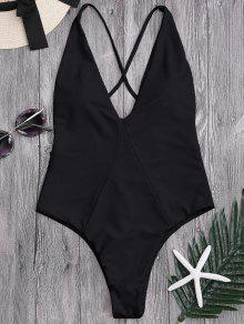لباس سباحة من قطعة واحدة برباط متقاطع في الخلف - أسود Xl