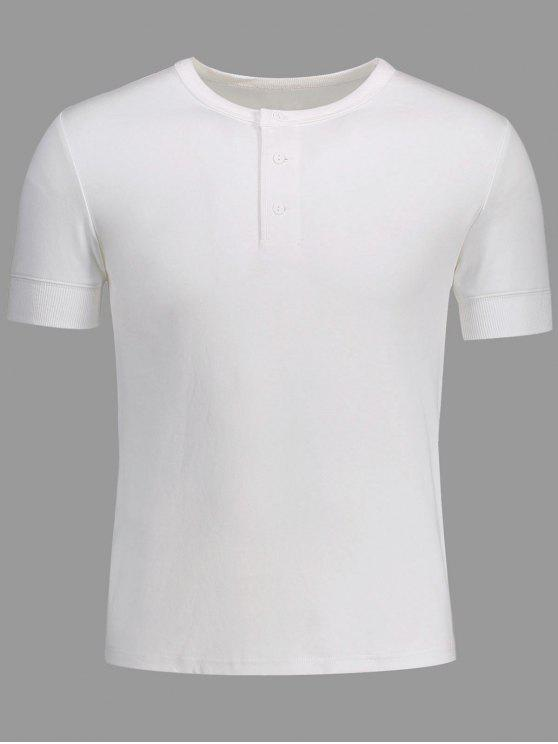 latest Crewneck Short Sleeve Henley Mens Top - WHITE M