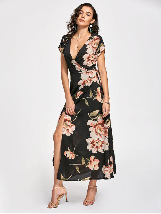 Vestido Maxi Envuelto con Estampado Floral con Escote Pico Largo - Negro XL
