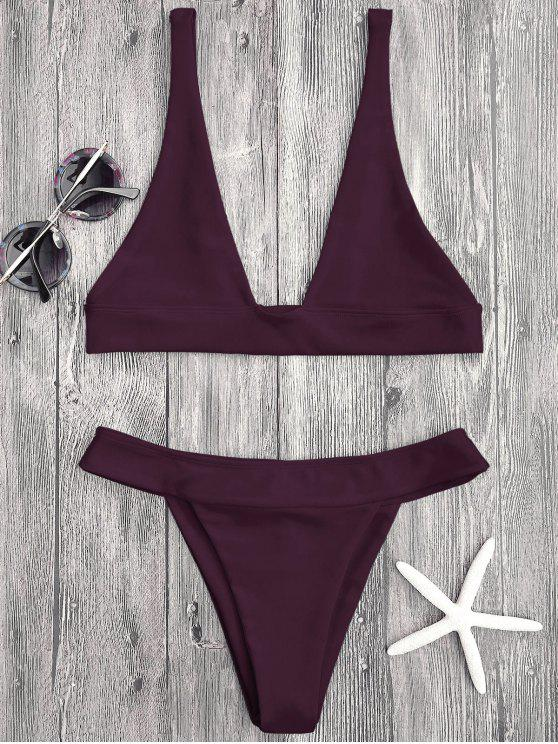 buy Plunge Bikini Top and High Cut Bottoms - MERLOT L