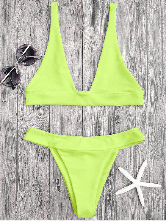 women's Plunge Bikini Top and High Cut Bottoms - NEON YELLOW L