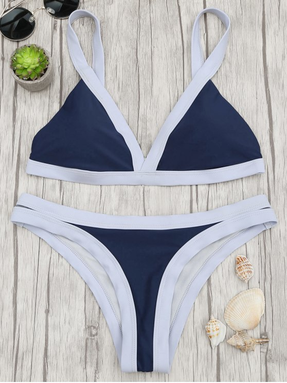 Maillot de bain paddé bicolore - Bleu Violet S