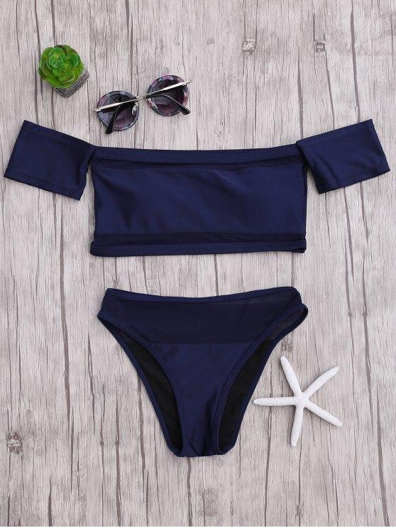 Ensemble Bikini en Maille à Épaules Dénudées Échancré - Bleu S