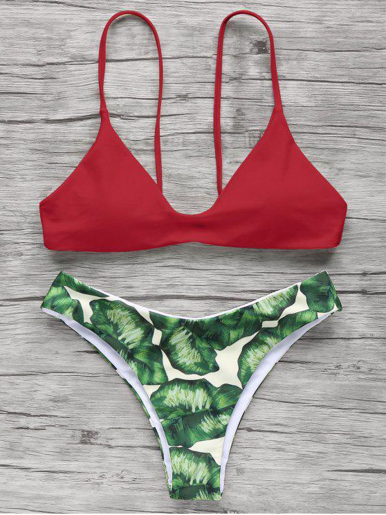 affordable Spaghetti Straps Palm Tree Bikini - RED S