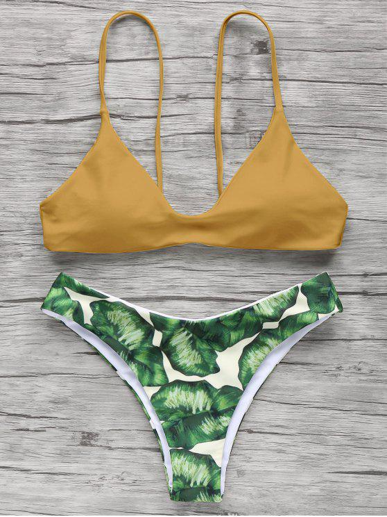 women Spaghetti Straps Palm Tree Bikini - GINGER S