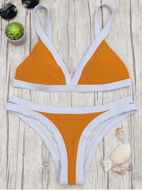 new Two Tone Padded Swimsuit - ORANGE S