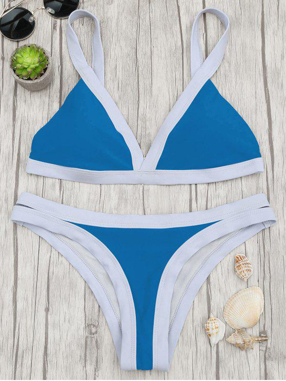 hot Two Tone Padded Swimsuit - BLUE L