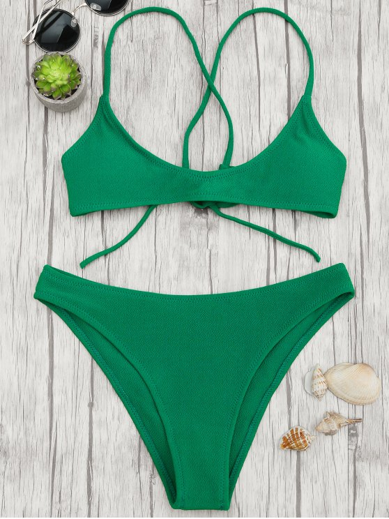 latest High Cut Bralette Scoop Bikini Set - GREEN S