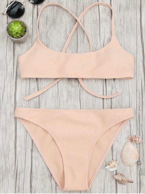trendy Textured Scoop Bralette Bikini Set - APRICOT L