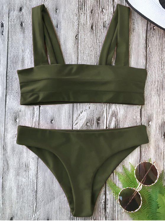 fancy Padded Wide Straps Bandeau Bikini Set - ARMY GREEN L