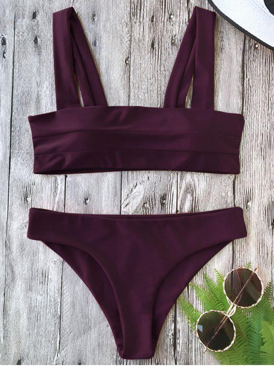 women Padded Wide Straps Bandeau Bikini Set - MERLOT L