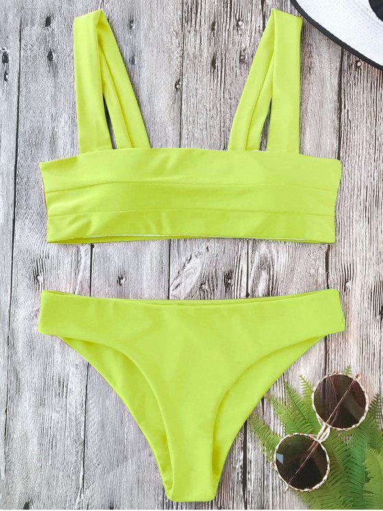 lady Padded Wide Straps Bandeau Bikini Set - NEON YELLOW L
