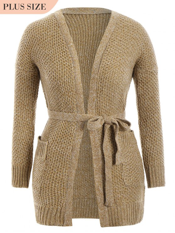 shop Plus Size Heathered Belted Cardigan - KHAKI ONE SIZE