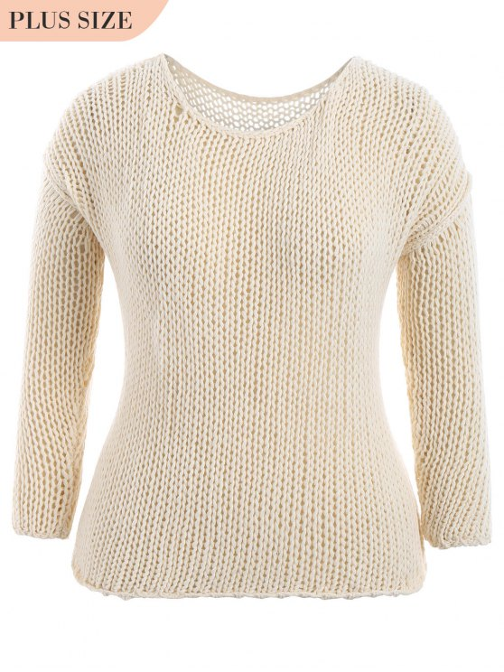 trendy Plus Size Sheer Chunky Sweater - OFF-WHITE 2XL