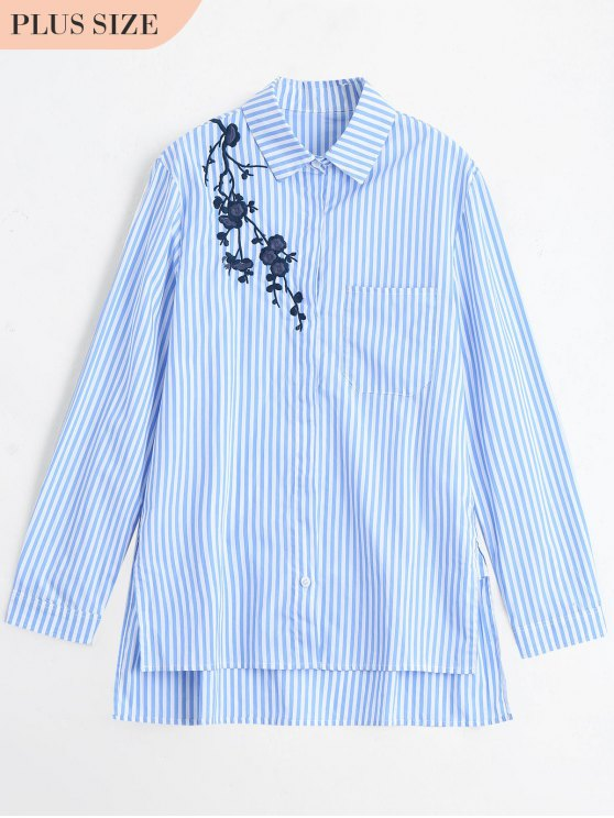 fashion Plus Size Embroidered Stripes Shirt - BLUE XL