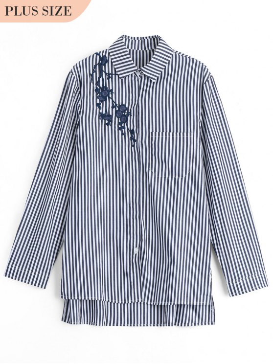 affordable Plus Size Embroidered Stripes Shirt - BLACK XL