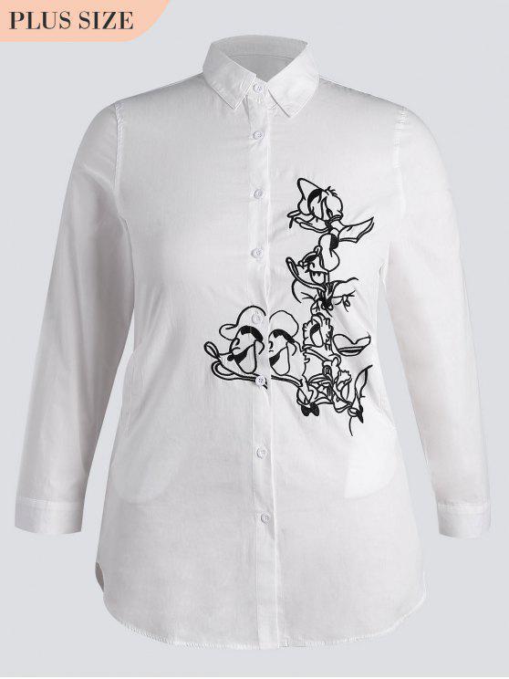 Botón abajo bordado más la camisa del tamaño - Blanco 2XL