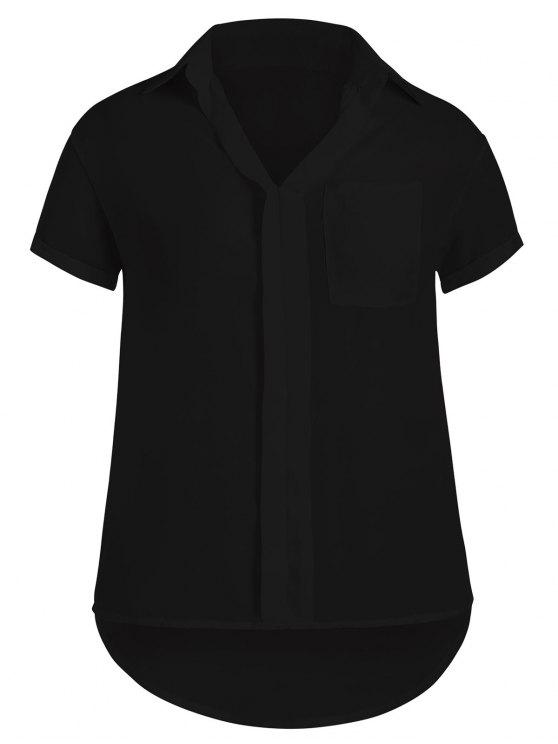 hot Plus Size High Low Pocket Blouse - BLACK 2XL