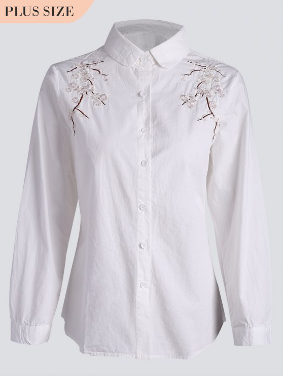 Camicia ricamata floreale Plus Size - Bianca 3XL