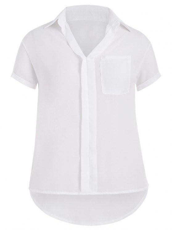 unique Plus Size High Low Pocket Blouse - WHITE 4XL