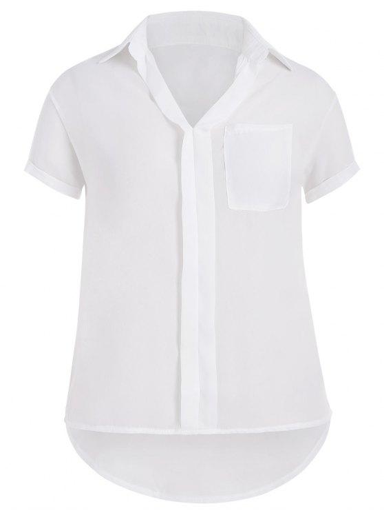 womens Plus Size High Low Pocket Blouse - WHITE 2XL