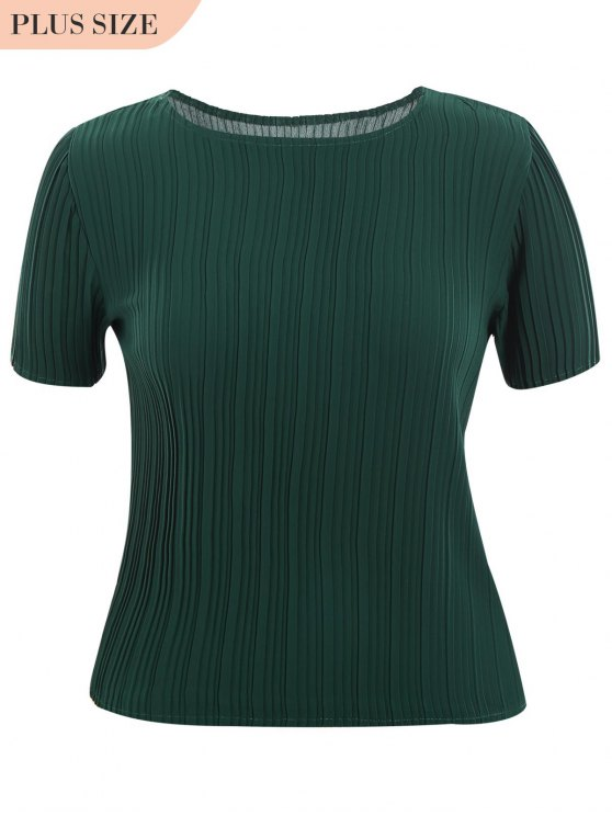 Plus Size Pleated Top - Dunkelgrün XL