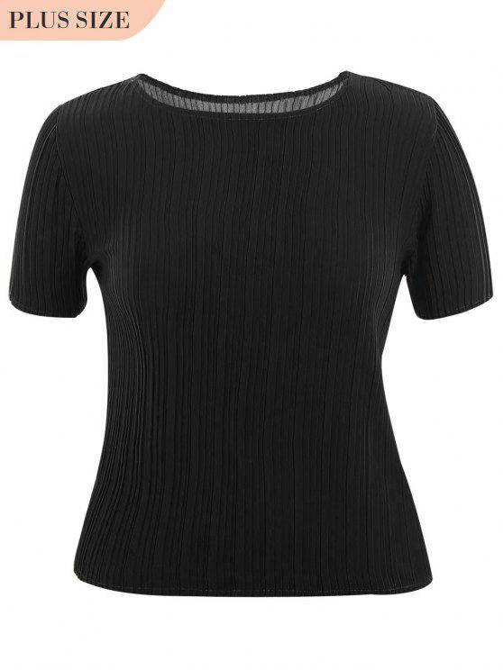 hot Plus Size Pleated Top - BLACK 3XL