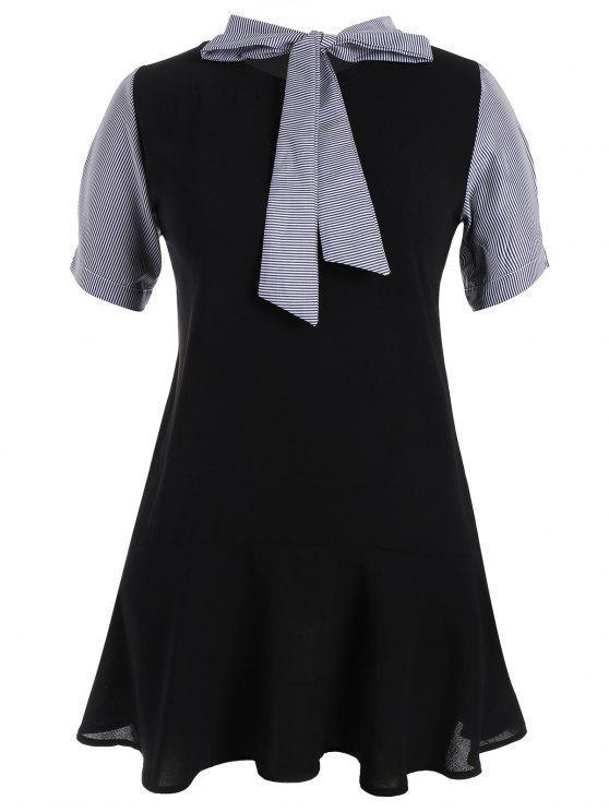 shop Plus Size Bowtie Neck Striped Dress - BLACK 4XL