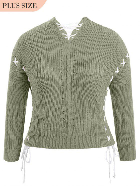 Plus Size Lace Up Chunky Sweater - Verde Tamanho único