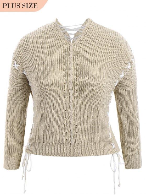 fancy Plus Size Lace Up Chunky Sweater - LIGHT KHAKI ONE SIZE