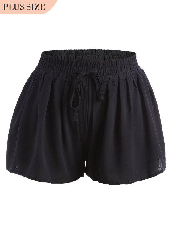 women Plus Size Drawstring Wide Legged Shorts - BLACK 4XL