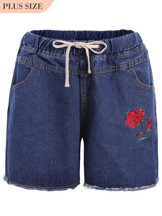 buy Plus Size Floral Embroidered Jean Shorts - DENIM BLUE 2XL