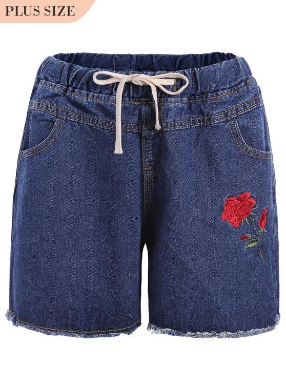 Shorts bordados de bordados florais de tamanho Plus - Jeans Azul 3XL
