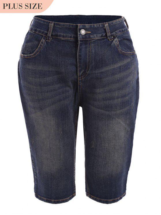 Plus Size Ripped Fifth Jeans - Denim Blue 4XL