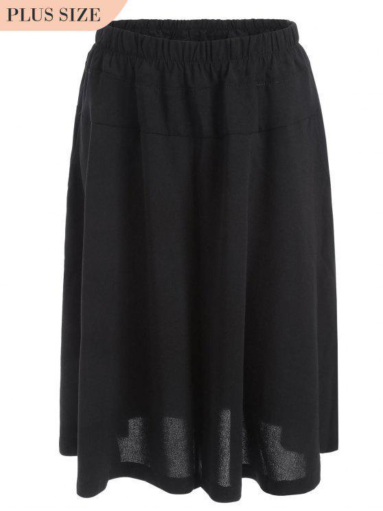 trendy Capri Plus Size Wide Leg Pants - BLACK 3XL