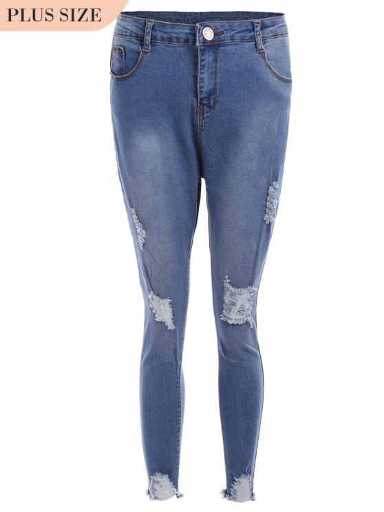Cutoffs Ripped Plus Size Jeans - Bleu 2XL