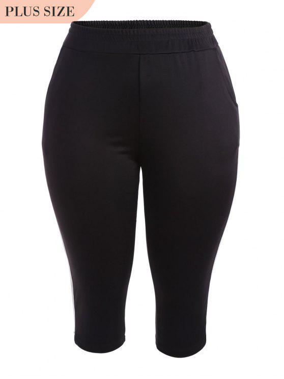 outfit Sports Plus Size Stripes Panel Pants - BLACK 2XL