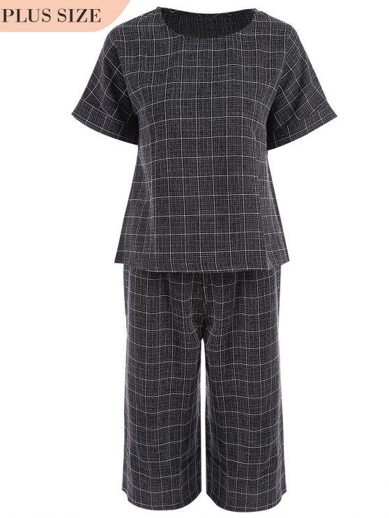 Plus Size Checked Top et Capri Straight Pant Suit - Noir 2XL