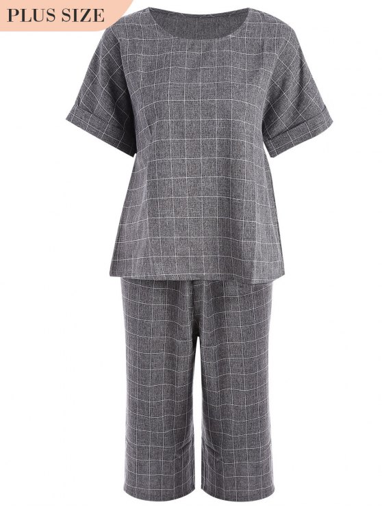 sale Plus Size Checked Top and Capri Straight Pant Suit - GRAY 2XL