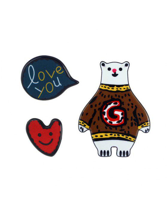 Heart Love You Bear Brooch Set - Café