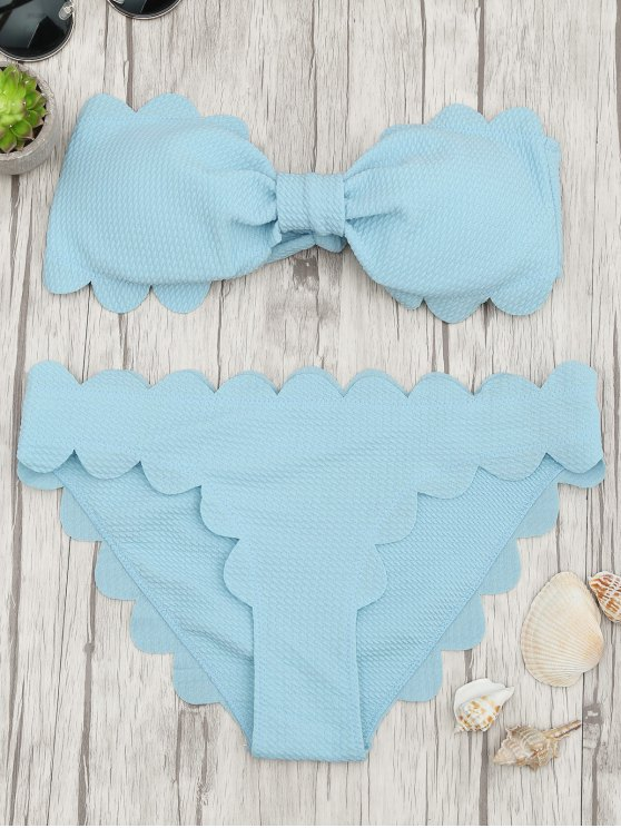 womens Padded Scalloped Bandeau Bikini Set - LIGHT BLUE M