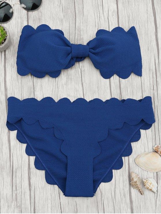 lady Padded Scalloped Bandeau Bikini Set - DEEP BLUE S