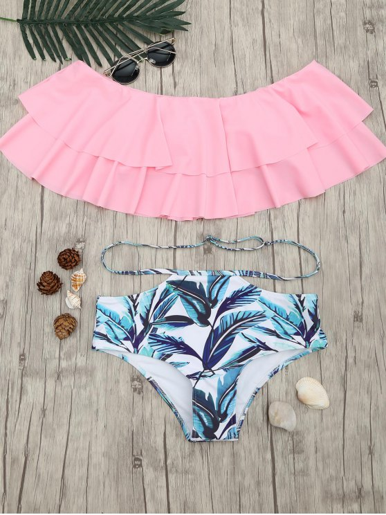 fancy Layered Flounce Off The Shoulder Bikini Set - PINK M