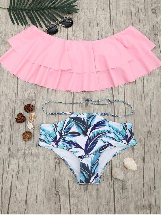 unique Layered Flounce Off The Shoulder Bikini Set - PINK S