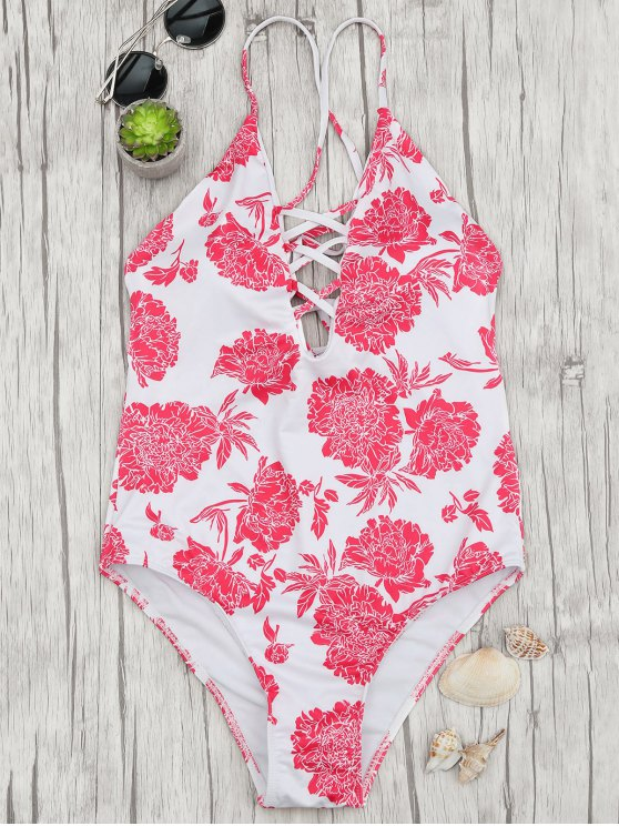 best Hydrangea Strappy Plunge One Piece Swimsuit - RED AND WHITE L