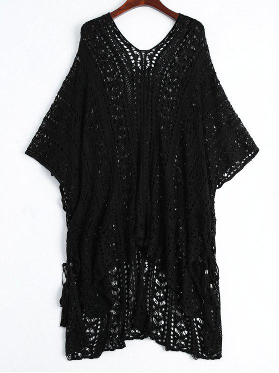 best Open Knit Beach Poncho Cover Up Dress - BLACK ONE SIZE