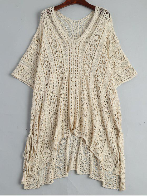 online Open Knit Beach Poncho Cover Up Dress - APRICOT ONE SIZE