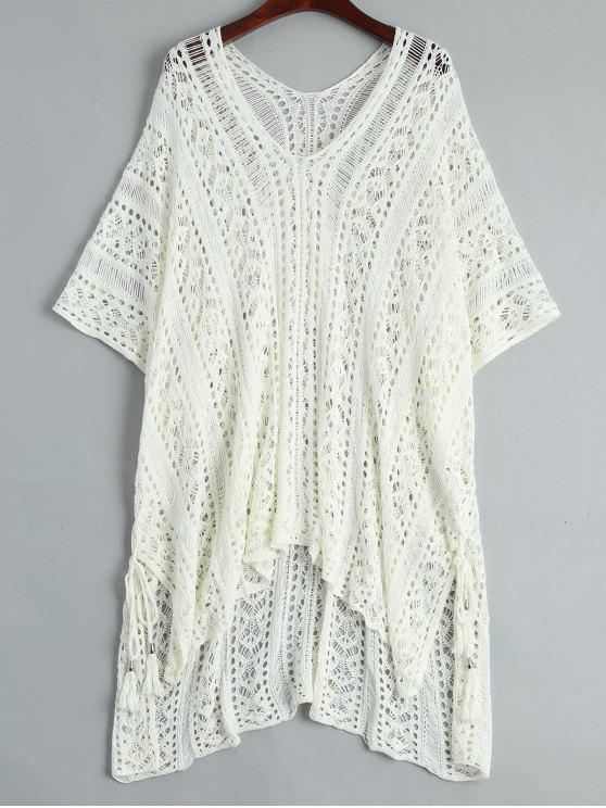 Open Knit Beach Poncho Cover Up Dress - Blanc TAILLE MOYENNE